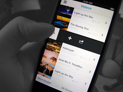 Videos clean video views ui iphone app menu most viewed genres list icon ux opacity share playlist add