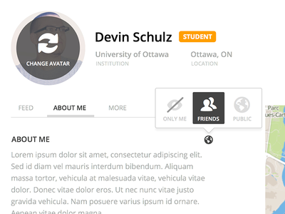Profile profile ui privacy friends public only me about feed map location university student settings hover sketch open sans web