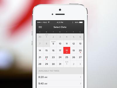 Tee Time Picker tee time date calendar ui iphone week month flat mobile golf