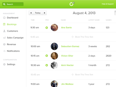 Bookings for the Day list users time slot nav ui ux calendar day web app management