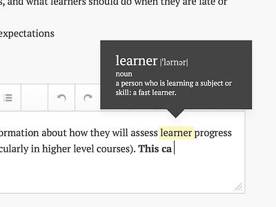 Highlight Definition tooltip highlight wysiwyg typography textarea inline edit