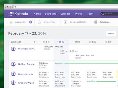 Create Schedule admin calendar schedule app week today vacation ui