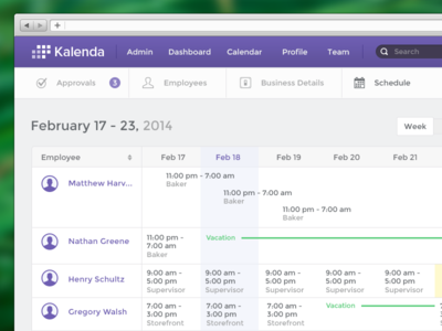 Create Schedule admin calendar schedule app week today vacation ui