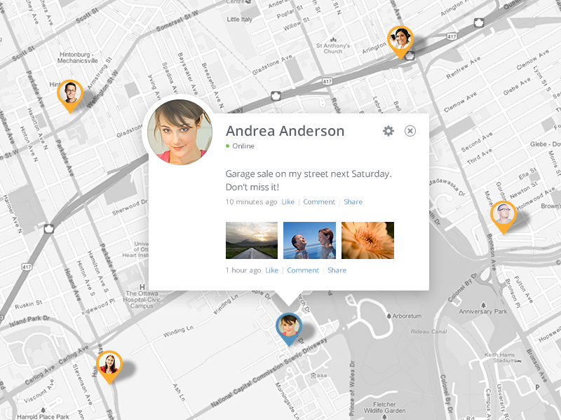 Recent Updates (Map View) by Devin Schulz on Dribbble