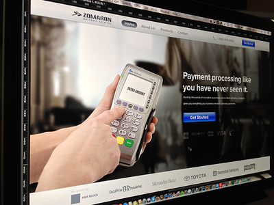 Homepage banner homepage get started blue ui brands selected corporate phone credit credit card terminal processors website web