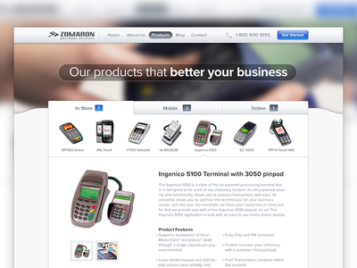Product Slider slider products credit terminal business banner header button blue ui grey credit card number thumbnail tabs web