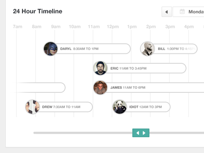 24 Hour timeline timeline 24 hours toggle date slider circle ui ux date picker button calendar web app