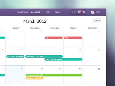 Infinite Calendar calendar ui ux infinite scroll navigation nav portrait notification search help shifts vacation meeting selected month year today sick purple blur