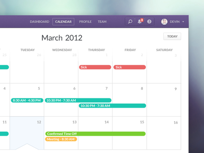 Infinite Calendar calendar ui ux infinite scroll navigation nav portrait notification search help shifts vacation meeting selected month year today sick purple blur