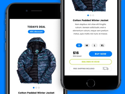 Daily Deals - App Prototype Design checkout blue prototype shopping app design
