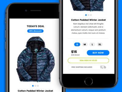 Daily Deals - App Prototype Design checkout blue prototype shopping app design
