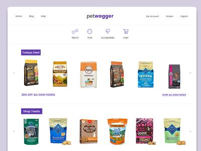 Pet Wagger - Prototype online pet store design products ecommerce purple dogs pets store shop