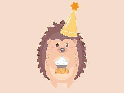 Ёжик день рождения праздник поздравление торт design vector illustration