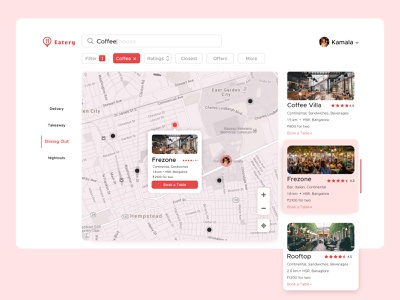 Food Map UI dining delivery food delivery route distance map hotel ui uidesign restaurant food mobile app design