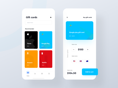 Buy gift card from Phone - IOS app logo search sell buy add to cart ios app mobile design card component gift card app card ui card view itunes gift cards google play gift card netflix gift card amazon gift card gift card app design