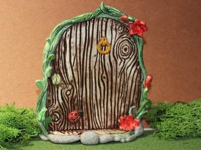 Whimsical Fairy door clay earthenware handmade polymer glazed ceramic garden fairy door