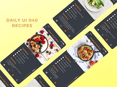 Daily UI 040 recipes web design app design recipe card recipe app recipes daily ui 040 dailyui