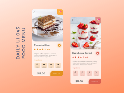 Daily UI 043 food menu dessert ui 043 store food app iphone ios mobile minimal colorful food menu daily ui 043 dailyui