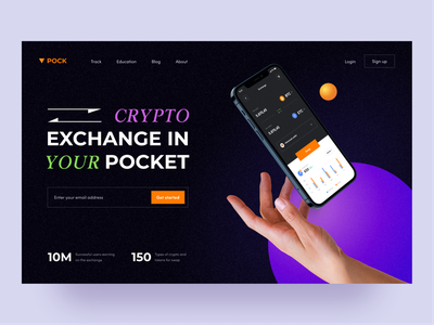 Pock — Crypto Exchange Platform cryptocurrency ui  ux ux ui web landing trade clean token swap exchange coin crypto trend dark