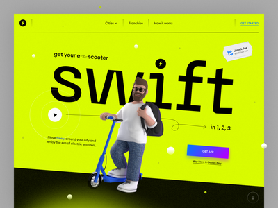 Swift — Electric Scooters Landing Page hero landing page fresh character modeling 3d rental electric scooter uiux trend design web landing ux ui