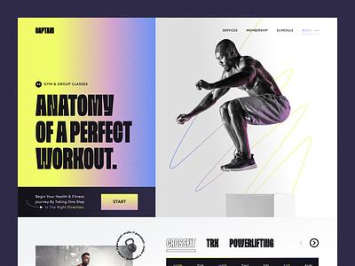 Captain — Fitness Landing Page landing page bold active bright health crossfit fitness sport gym uiux trend design web landing ux ui