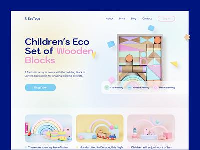 EcoToys — Wooden Blocks Shop Landing Page shop ecommerce baby care children kids pastel wooden block toy uiux trend design web landing ux ui