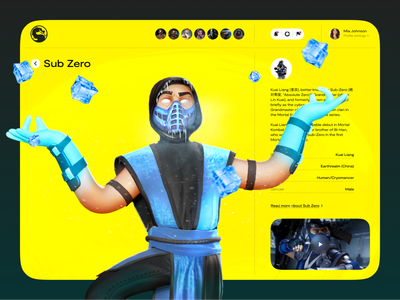 Sub Zero — Character Page saas scorpion sub zero mortal combat 3d modeling character uiux trend design web landing ux ui