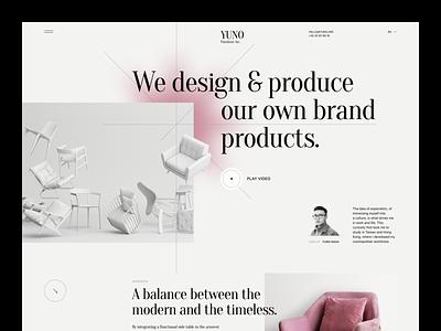 YUNO — Furniture Design store ecommerce checkout sofa couch landing page portfolio designer chair room architercure furniture interior uiux trend landing design web ux ui
