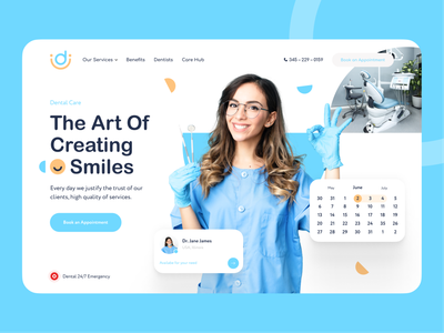Caring Smiles — Dentistry Landing Page blue tooth teeth doctor dentistry dentist healthcare care health clinic medical medicine service uiux trend landing design web ux ui