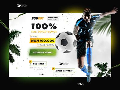 SQUEST — Soccer Promo Page uiux ux ui 3d landing page design landing design landing