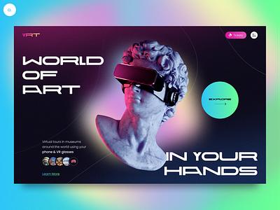 VRT — Virtual Tours In Worldwide Museums typogaphy vr museum landing page main page landing uiux ui