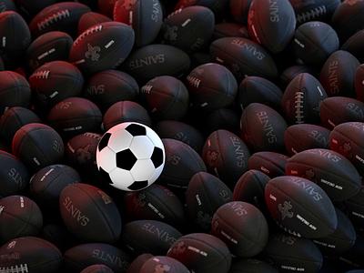 Soccer vs Football Battle sport 3d scene soccer football balls design 3d