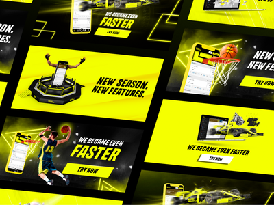 Betting Promo Banners yellow collage betting sport ads banners design