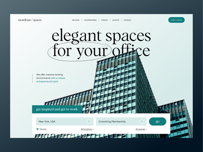 Mondrian Spaces — Real Estate Concept landing page real estate realestate ux website landing ui uiux design