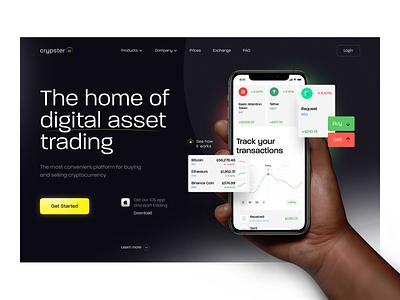 Crypster.io — Desktop Landing Concept mobile ui crypto landing page website ux landing uiux ui design