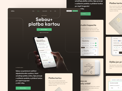 Sebou plus hand landing landing page premium iphone dark website webdesign web