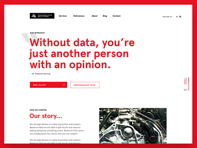 Performance solutions - about black red apercu whitespace webdesign web