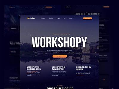 Glorious - Workshops dark gradient blue conference workshop webdesign website web
