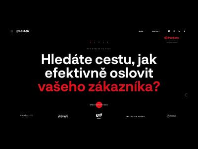 Groost – agency website motion illustration dark red and black agency red japan animation webdesign web