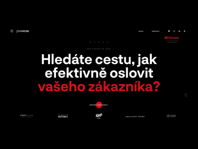 Groost – agency website motion illustration dark red and black agency red japan animation webdesign web