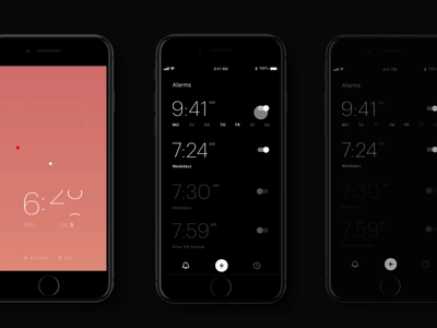 Minimalistic Alarm App adobe clock app clocks black minimalistic alarm app mobile app mobile app clock animation interaction adobexd madewithadobexd