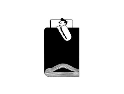 Books lover booking read dream sleep bed digital art editorial illustration design ui minimal black illustration character book cover book