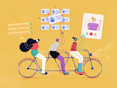 Recruiting no code teamwork agency recruit hire hiring form people z1 team meeting hangout card process recruiting bike texture character illustration