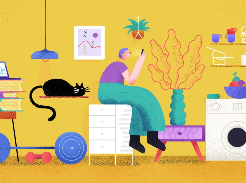 At home after the pandemic people book gym washing machine app furniture lamp cat shapes texture character remote work remote home