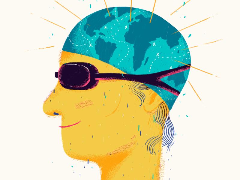 Swimmer map art editorial illustration woman glasses swiming water ocean world record guinness swimmer