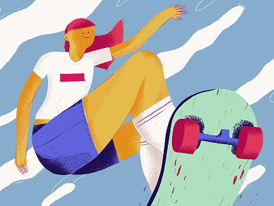 Skater wacom texture jump design character fashion sky clouds illustration power girl woman sk8 skate