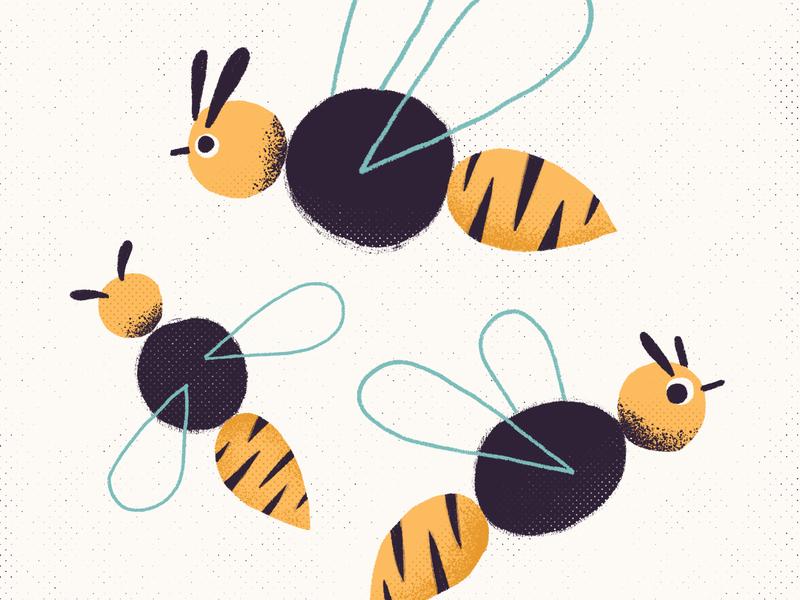 Bee animal character tattoo texture editorial design photoshop art illustration bee