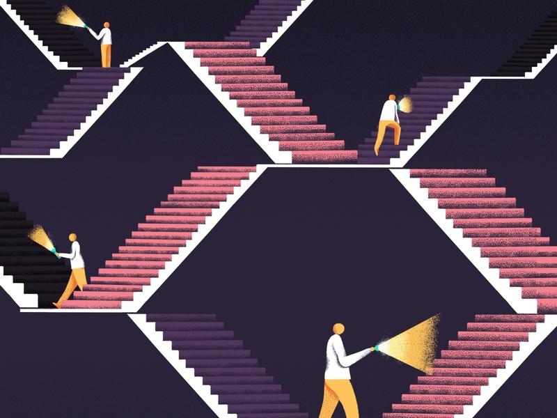 Cover Magazine architecture dark light stair texture editorial art illustration editorial illustration
