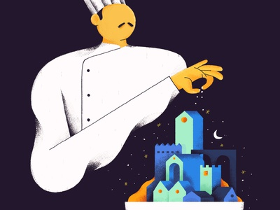 Chef art kitchen illustration illustrator brushes night stars luxury turkey character design delivery food chef editorial illustration
