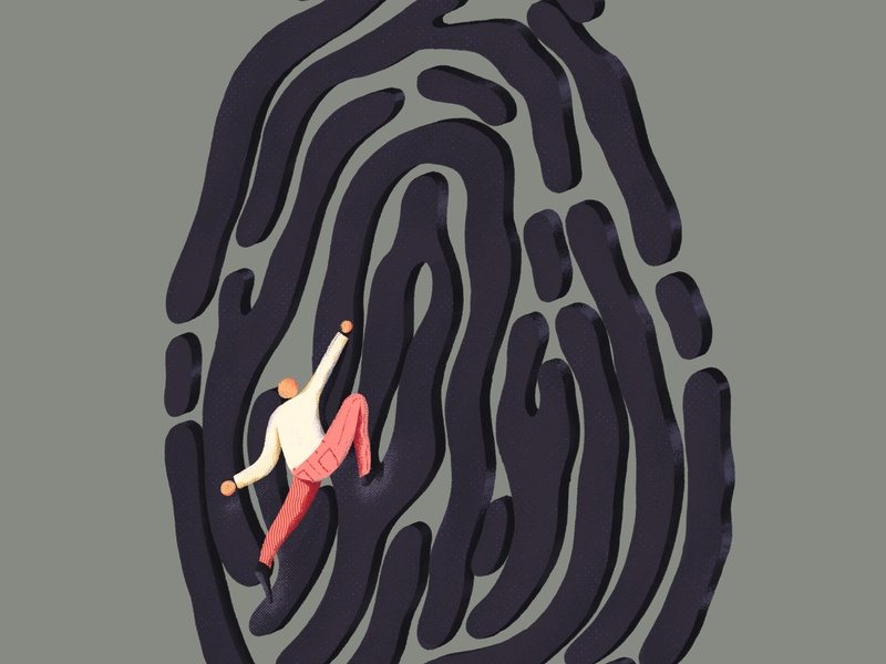 Identification required brushes 404 error error design editorial illustration giant mountain woman man path app profile id hand finger character illustration editorial fingerprint